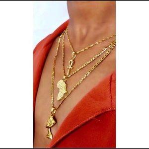Gold 3 piece set  ankh Nefertiti Africa necklaces